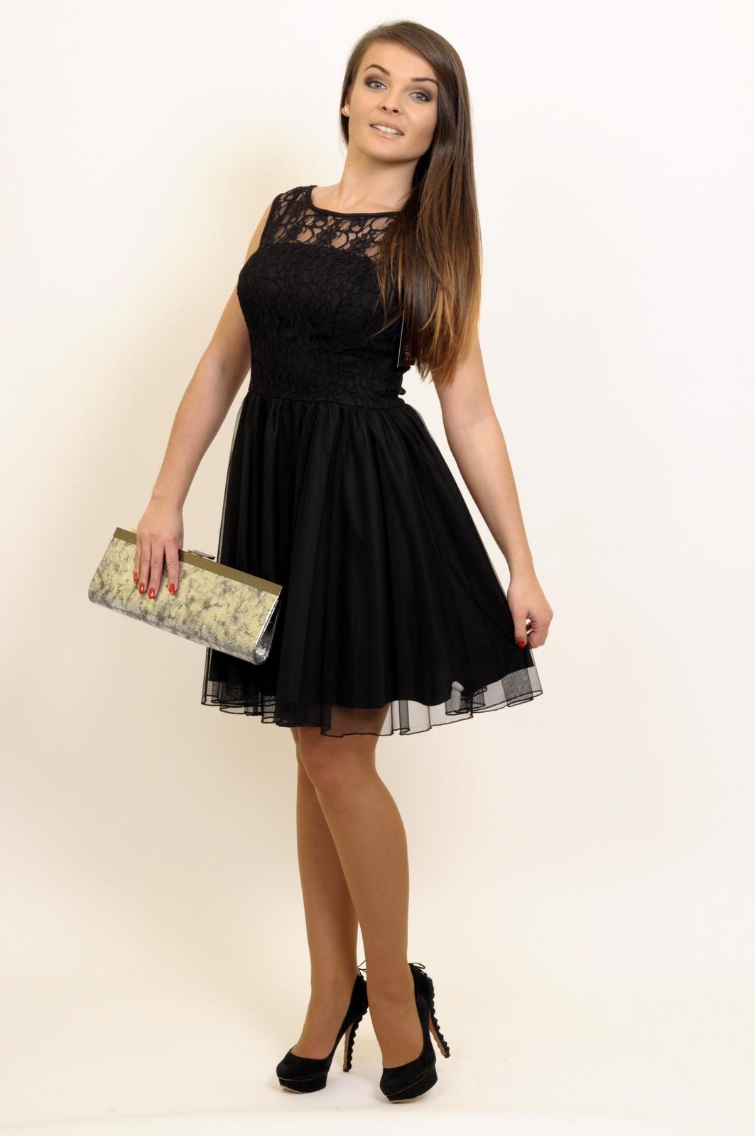 Stylowa Czarna Sukienka Z Tiulem Koronka La Mode